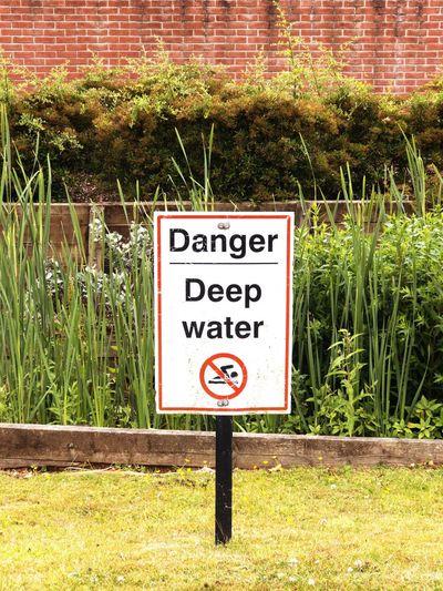 Danger deep water sign Deep Water Danger Deep Water Danger Sign Danger Communication Sign Text Plant Western Script Warning Sign Information