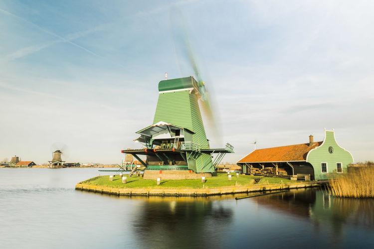 Molen Netherlands Toerist Windmill Working Zaandam Zaanse Schans