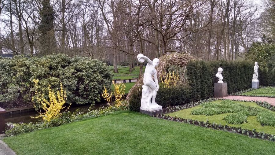 Keukenhof Botanical Gardens Lisse, The Netherlands Travel Travel Destinations Travel Photography Tree Statue Sculpture Park - Man Made Space Grass Sky Green Color Male Likeness Female Likeness Human Representation Botanical Garden Sculpted The Still Life Photographer - 2018 EyeEm Awards The Street Photographer - 2018 EyeEm Awards The Traveler - 2018 EyeEm Awards The Creative - 2018 EyeEm Awards The Photojournalist - 2018 EyeEm Awards