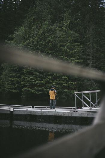 Man standing on footbridge against trees