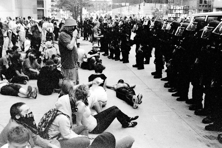 Protests at the 2008 Democratic National Convention (DNC) 2008 Democratic National Convention Black & White Film Protest Adult Adults Only Black And White Black And White Photography Blackandwhite Blackandwhite Photography City Civil Disturbance Crowd Day Film Photography High Angle View Indoors  Large Group Of People Men People Protesters Real People Tri-x 400 Pushed Women