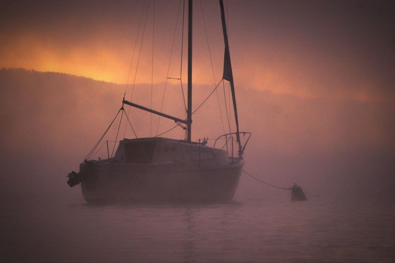 Beauty In Nature Boat Calm Fog Idyllic Mast Misty Morning Fog Mode Of Transport Nature Nautical Vessel Sailboat Sailing Scenics Sea Silhouette Sky Tranquil Scene Tranquility Transportation Water Waterfront