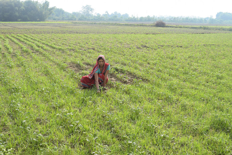 Woman working in agricultural field