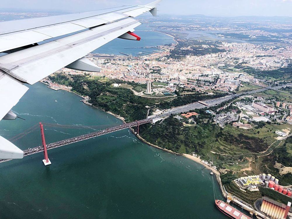 Brıdge Airplane Air Vehicle Water Transportation Mode Of Transportation Aircraft Wing Travel Flying Aerial View Day Cityscape Sea High Angle View EyeEmNewHere