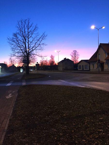 Sky Night Road Lettonia Illuminated Nature No People