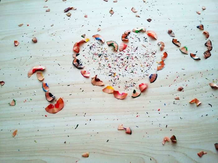 High Angle View Of I Love You Text Made From Pencil Shavings