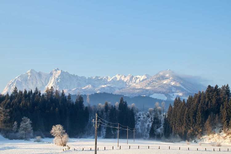 Panorama of the wild emperor with view from the valley kössen in tyrol austria