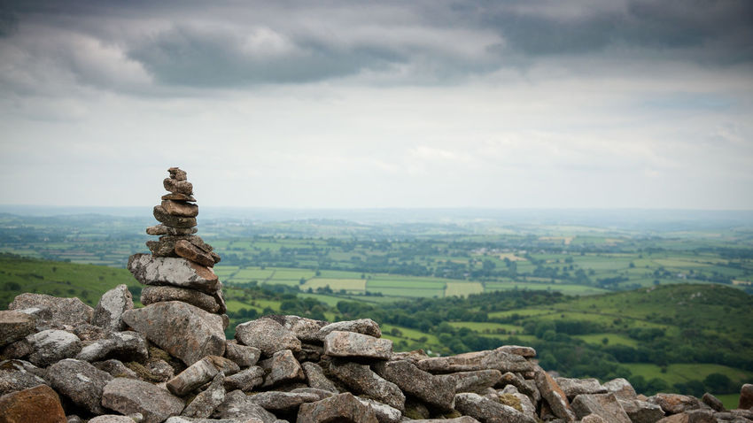 Stone pile on Bodmin moor. Walking Tranquil Scene Stones Rocks Peaceful Overcast Nature Moorland Landscape Cornwall Bodmin Moor Rock Pile Hiking Cloudy