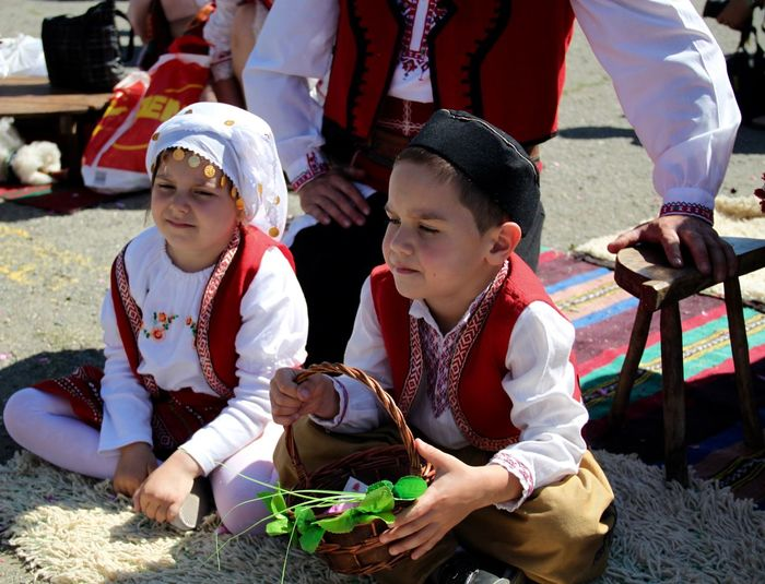 Bulgaria Children Day Festive Of R Headwear Kazanlak Outdoors People Sword Tradition Traditional Clothing Traditional Clothing Traditional Costume Traditional Culture Traditional Festival Two People
