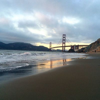 Sunset over Golden Gate Bridge Colour Your Horizn Golden Gate Bridge Nature On Your Doorstep Beauty In Nature Outdoors Sea Sky Sunset #sun #clouds #skylovers #sky #nature #beautifulinnature #naturalbeauty #photography #landscape Suspension Bridge Tourism Travel Travel Destinations