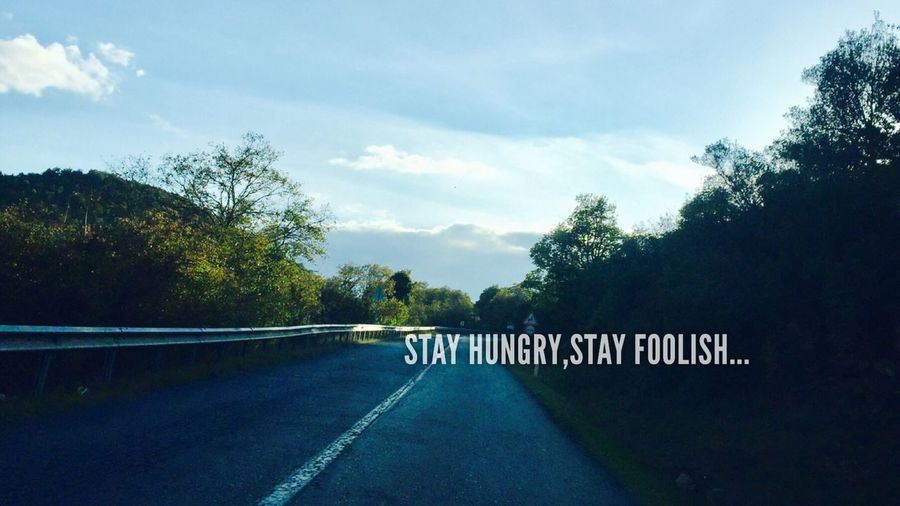 Stay Hungry,stay foolish... Tree Road Railing Transportation Sky Tranquil Scene Solitude Cloud Tranquility Countryside Outdoors Day Growth Bridge Non-urban Scene Cloud - Sky Long Nature Crash Barrier