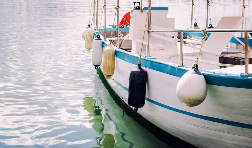 Close-Up Of Boat Moored On Sea