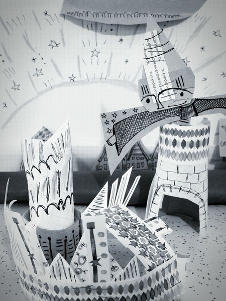 Paper View Papertown Paper Illustrator Illustration Town Wizard Magic Art Sculptures Sculpture Scene Spells Hat World Black And White Black & White Monochrome Printmaking Lines Spontaneous Moments Play Creativity Showcase: December Deceptively Simple