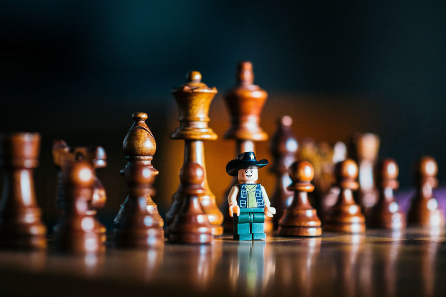 LEGO Miniatures Shallow Depth Of Field Board Game Chess Chess Board Chess Piece Close-up Competition Figurine  Knight - Chess Piece Leisure Games No People Sheriff Still Life Strategy Law And Order  Rethink Things