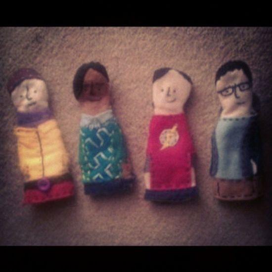 Bigbangtheory Howard Raj Sheldon Leonard finger puppets homemade I made these for my friends birthday present.