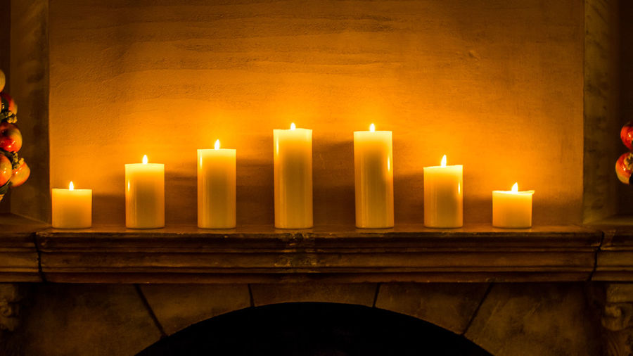 Candles at a fire place Arlberg Burning Candle Fire Place Flame Hotel Illuminated Indoors  Lobby No People Ski Resort