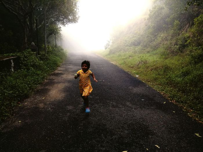 Baby Child Fog One Person Children Only One Girl Only Yellow Color Green Leaves Greenery Beauty In Nature Road Hope Faith Break The Mold