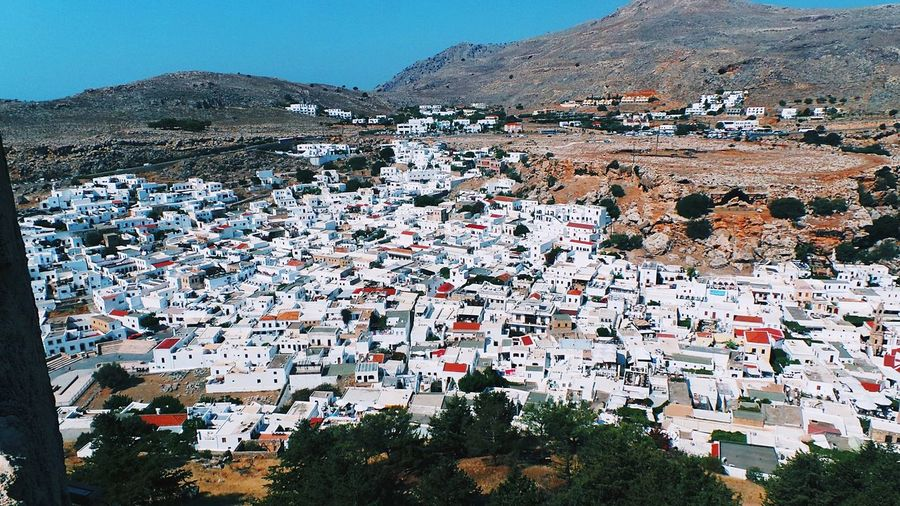 Amazing view from the acropolis of lindos on the typical white houses No People Day Mountain Outdoors Architecture Nature High Angle View Sunlight Travel First Eyeem Photo