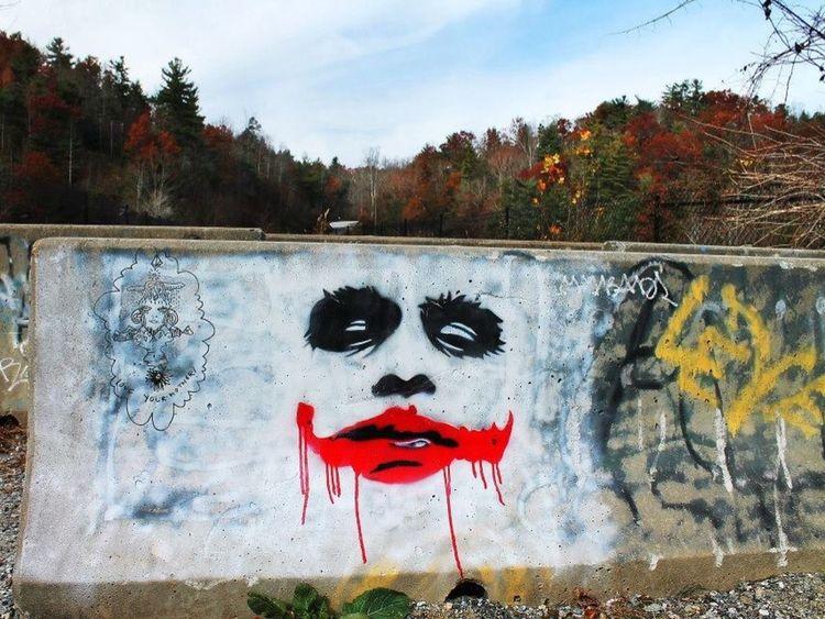 Graffiti joker batman comic painting mural road nc sc Saluda North Carolina Carolinas usa marvel comics book devil in the pale moonlight Daniel dyer productions Taking Photos Enjoying Life Check This Out