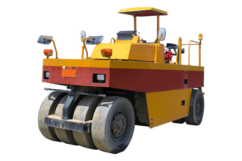 yellow road roller on white road roller isolated. Construction Industrial Industry Isolated Machinery Roll Roller Rollercoaster Work Close Up Construction Machinery Cut Out Hydrolic Land Vehicle Machinery Repair Site Steamroller Technology Transportation Tyre Tyre Roll Vehicle Wheel Yellow