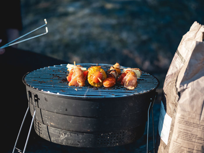 Mixed skewers on the grill