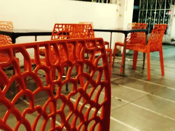 The Orange Chairs! Orange Chair Abstract Photography Random Shots Beautiful Wallpaper Red Chair Table Empty Outdoor Cafe End Plastic Pollution