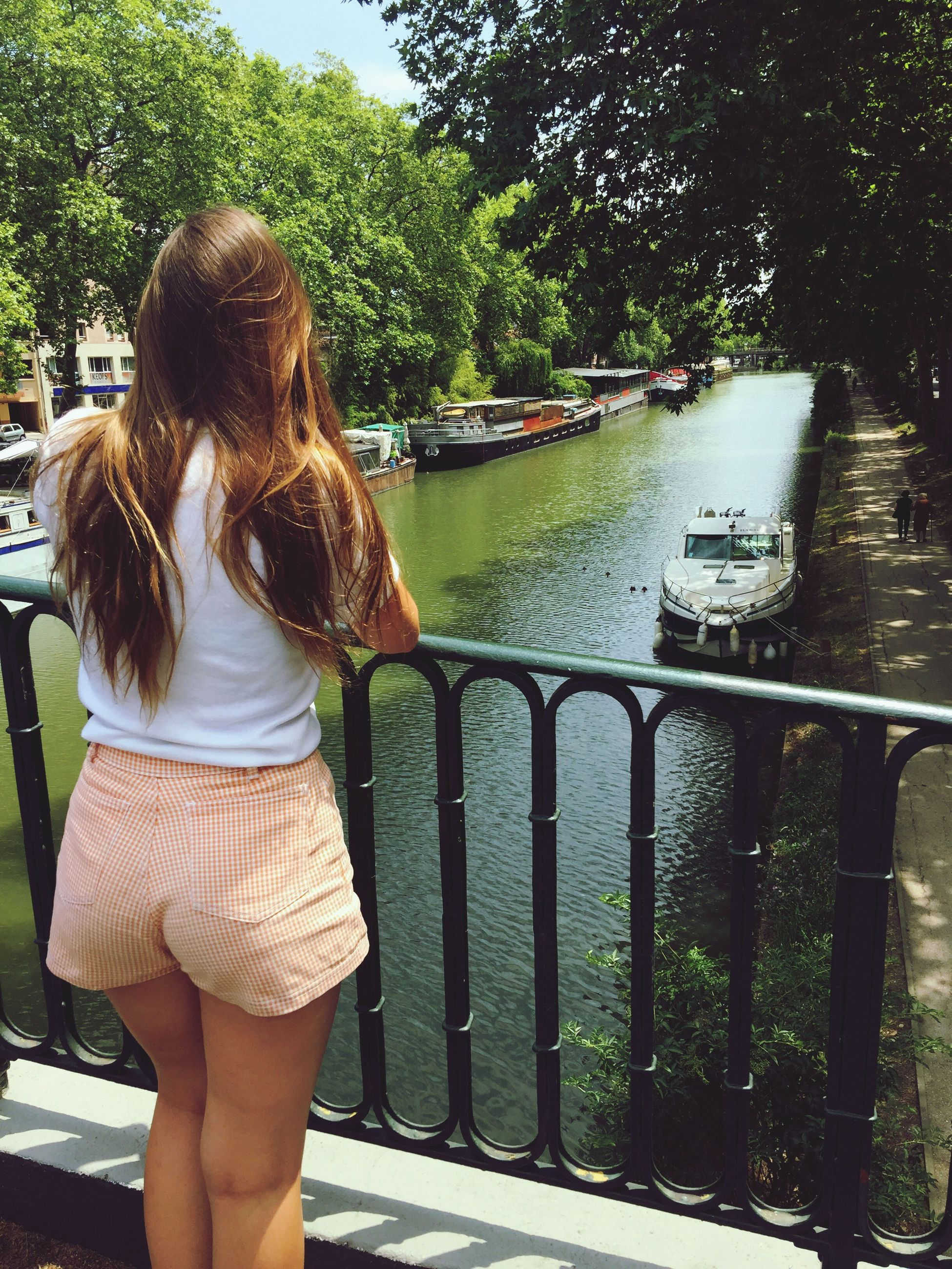 lifestyles, leisure activity, water, casual clothing, rear view, full length, railing, tree, standing, girls, person, river, three quarter length, blond hair, young women, childhood, lake