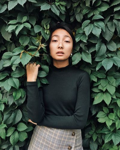 Asian  Green Color One Person Leaf Plant Part Front View Young Adult Real People Portrait Nature