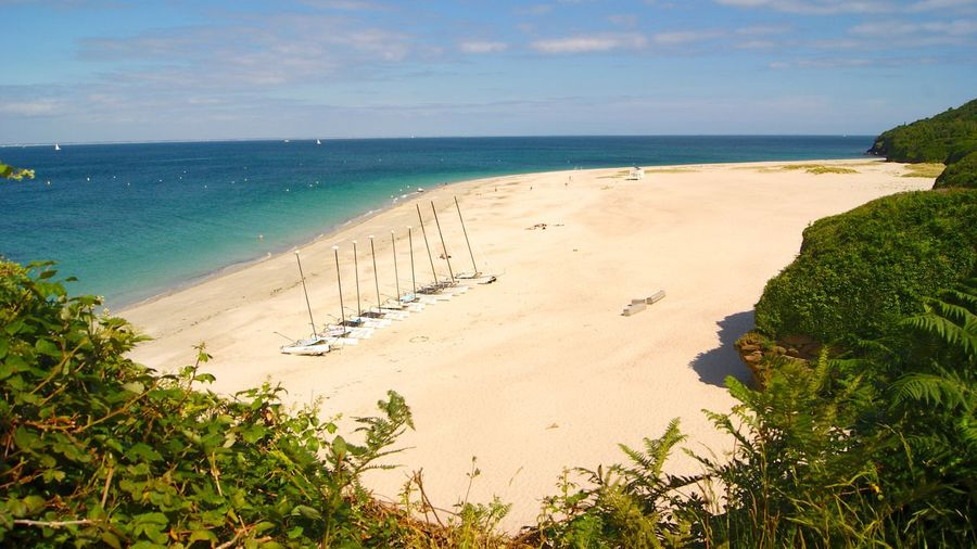 Bretagne Brittany Empty Beach France Beach Beauty In Nature Bretagnetourisme Day French Bulldog Groix High Angle View Horizon Horizon Over Water Idyllic Isle De Groix Land Nature No People Outdoors Plant Sand Scenics - Nature Sea Sky Tranquil Scene Tranquility Tree Water West France White Sand