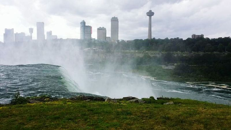 Niagra Falls Waterfall Nature Beautiful Mist Pressure Current Grass Trees Sky Buildings Border Canadian Side The Week On EyeEm American Side