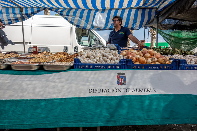 Food Food And Drink Retail  Healthy Eating Market Stall Wellbeing Fruit Freshness Market Front View Vegetable Small Business Business Real People Large Group Of Objects Day For Sale Occupation Retail Display Outdoors Sale Roquetas De Mar Street Market SPAIN Almería