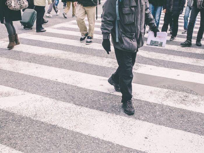 People walking on road