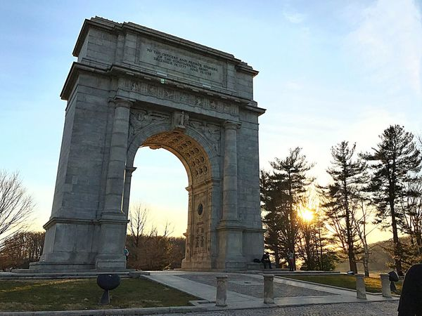 Valley forge park, sunset, memorial arch