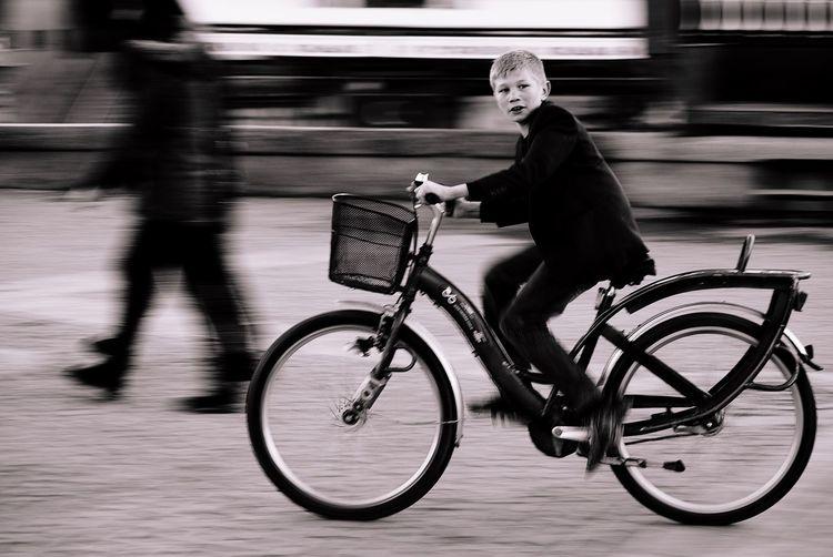 Hello World Streetphotography Blackandwhite Streetphoto_bw EyeEm Best Shots - Black + White Portrait Children The Human Condition Capture The Moment On Your Bike Street Photography