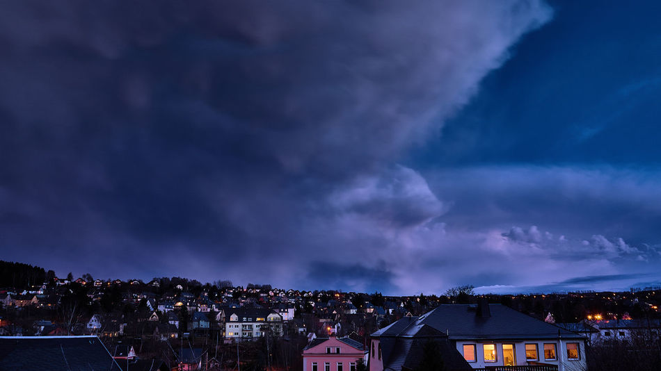Abendhimmel Extrem Erzgebirge Architecture Building Building Exterior Built Structure City Cityscape Cloud - Sky Dusk House Illuminated Lightning Nature Night No People Ominous Outdoors Power In Nature Residential District Sachsen Schneeberg Sky Sony A6000 Storm Storm Cloud Thunderstorm TOWNSCAPE