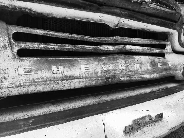 Parked Black And White Car Day Outdoors Rustic Transportation Texas Old Car Close-up No People Abandoned Vehicle Land Vehicle Truck Grill