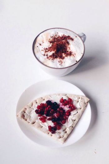 Food And Drink White Background Freshness Raspberry Fruit Food No People Healthy Eating Ready-to-eat Close-up WhiteCollection Jam Marmelade Konfitüre Breakfast Swedish Bread Coffee Minimalist Cappuccino Goûter Styled Photos Lifestyle Photography Indulgence Red Frothy Drink