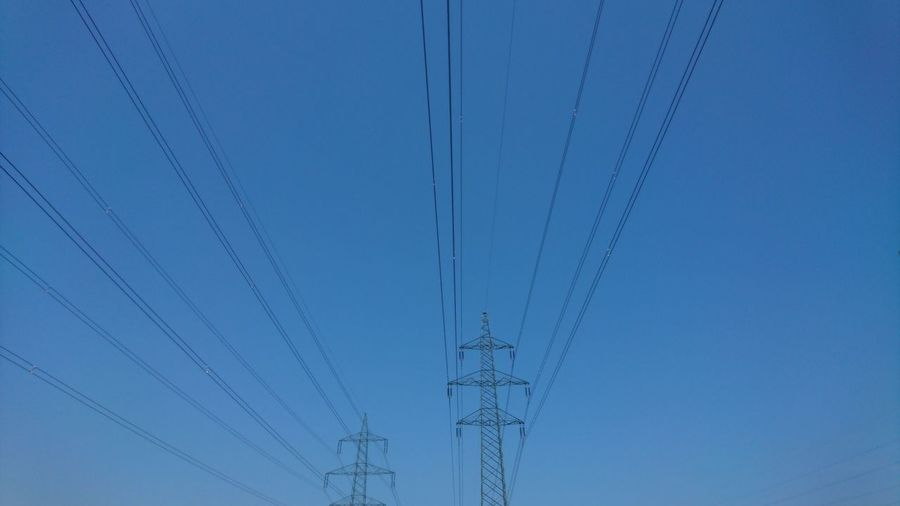 Cable Backgrounds Copy Space Pattern Blue Technology No People Full Frame Outdoors Nature Sky Electricity  Electric Lines Electric Grid