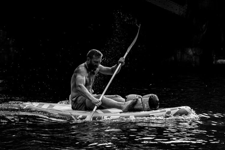 Black & White Man Rowing Sportsman Blackandwhite Leisure Activity Lifestyles Muscles One Person Outdoors River Sitting Sport Training Water Watersports