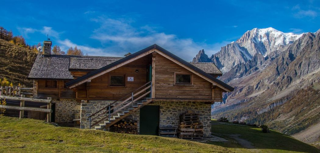 refuge bonatti,courmayeur,italy Built Structure Architecture Mountain Sky Building Exterior Cloud - Sky Building No People Beauty In Nature Nature Scenics - Nature Mountain Range Day House Grass Non-urban Scene Landscape Tranquil Scene Idyllic Outdoors Cottage