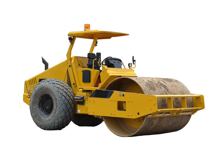 yellow road roller on white road roller isolated. Construction Industrial Industry Isolated Machinery Roll Rollercoaster Work Close Up Construction Industry Construction Machinery Construction Vehicle Cut Out Hydrolic Industrial Equipment Industry Land Vehicle Machinery Repair Site Steamroller Technology Transportation Vehicle Yellow