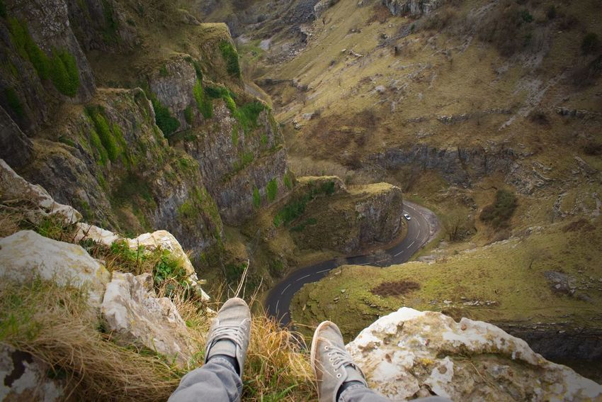 Personal Perspective Adventure Rock - Object Human Body Part Leisure Activity Cliff Scenics Shoe Lifestyles Travel Destinations Nature One Person Vacations Low Section Men Landscape Beauty In Nature Day Mountain Outdoors EyeEmBestPics Cheddar Gorge Heights Height Photography From Above
