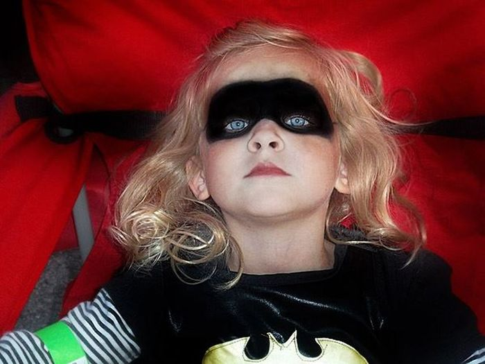 Batgirl Blond Hair Blue Eyes Child Close-up Eyes Girl Halloween Human Body Part Looking At Camera One Person People Red