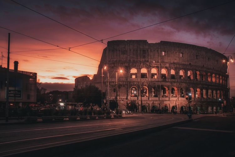 Building Exterior Architecture Built Structure Sky City Transportation Cloud - Sky Illuminated Sunset Street Road Nature Mode Of Transportation No People Building Night Dusk Outdoors City Street Travel Destinations Colosseo Rome Italy City Cityscape