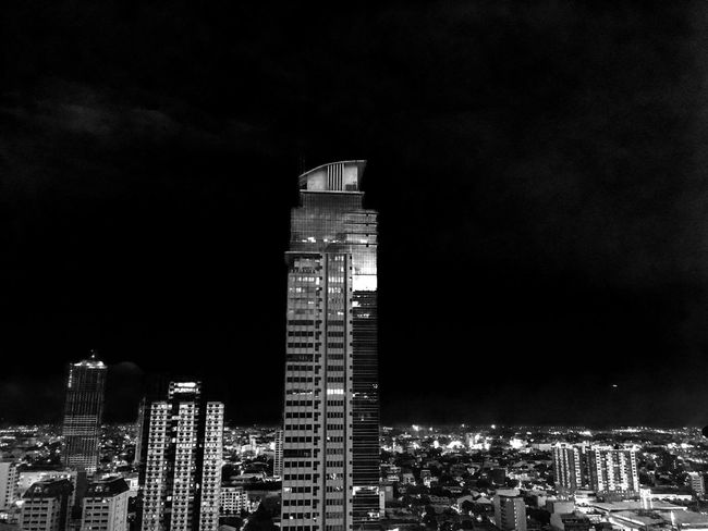 Black And White Friday Architecture Building Exterior Built Structure Illuminated Sky Night Modern Skyscraper City Cityscape No People Low Angle View Outdoors ShotOnIphone Lowlight
