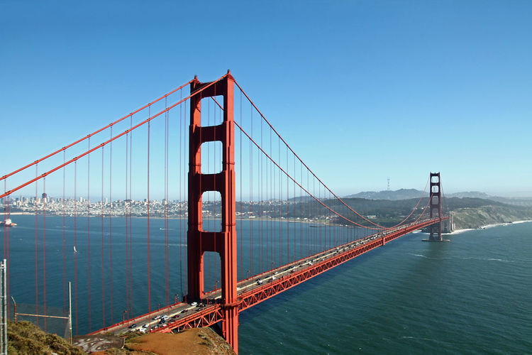 Golden gate bridge over sea against sky