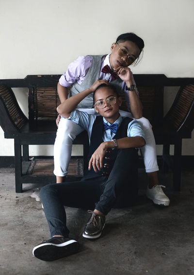 Bonding Boys Casual Clothing Day Elementary Age Friendship Full Length Happiness Indoors  Leisure Activity Lifestyles Mid Adult Men Playing Real People Sitting Togetherness Two People Young Adult Young Men Young Women The Week On EyeEm