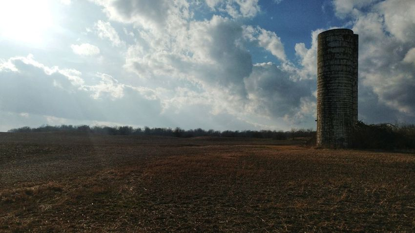 Cloud - Sky Sky Outdoors No People Day Agriculture Nature Silo Ohio Rural Rural Scene Rural Landscape No Trespassing Rurex Rurexeploration Rural Photography Sunlight Blue Sky Blue Sky And Clouds