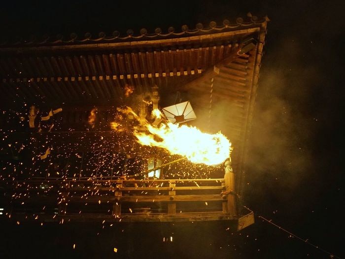 Fire Light And Shadow Wooden Architecture Historic Traditional Culture Japanese Culture Fire Sparks Nara,Japan Travel Destinations Travel Photography お水取り お松明 東大寺 二月堂 Heat - Temperature Burning Danger Entertainment Fireball Fire - Natural Phenomenon