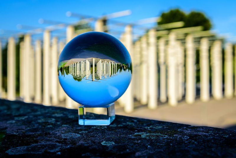 Crystal ball Back To Front Crystal Ball EyeEmNewHere Glass Ball Architecture Blue Built Structure Close-up Day No People Outdoors